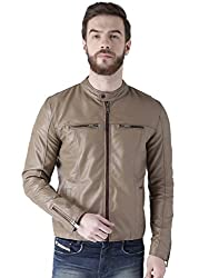 Bareskin mens beige color genuine leather jacket