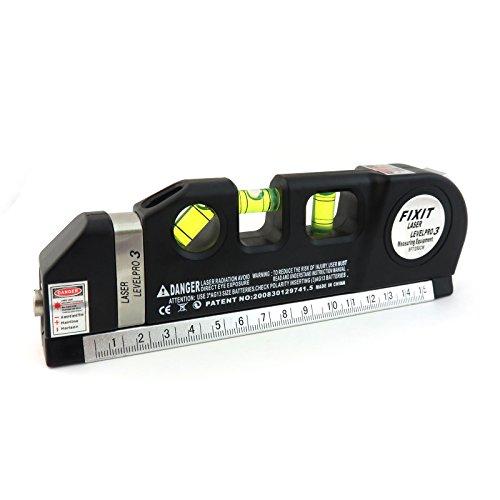 iXium Mehrzweck-Wasserwaage mit Laser: horizontal/vertikal/Kreuz, 244 cm (8 Fuß) Maßband, Lineal, Werkzeug für Heimwerker