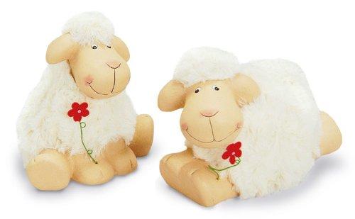 2 x Deko Figur Lamm Schäfchen Schaf mit Blume im Set 8/9 cm, Ton beige mit Kunstfell weiß, Schafe Lämmer Dekofigur Dekoschaf Frühling Sommer (Zwei-ton-lamm)