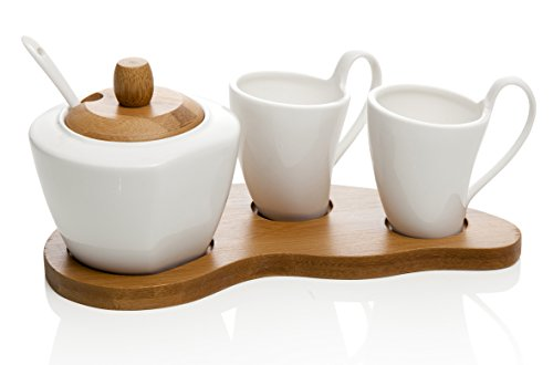 Brandani Coffee 4 pièces, Porcelaine, complet avec plateau en bambou bois blanc 55632