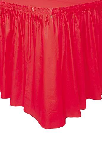 Unique Party - 50053 - Jupe de Table en Plastique - 4,2 m - Rouge