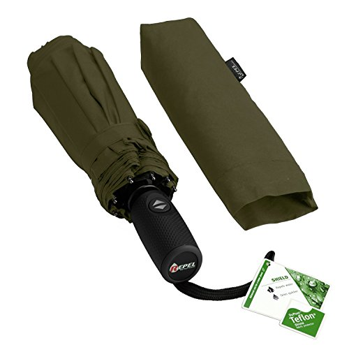 """Lightweight """"Dupont Teflon"""" Travel Umbrella, Virtually Indestructible Windproof Canopy, **Lifetime Replacement Guarantee**, Automatic Open/Close For One Handed Operation, Slip-Proof Handle for Easy Carrying By Repel (Army Green)"""