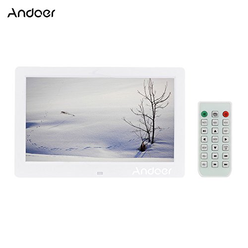 Andoer 10.1' HD écran large haute résolution Cadres Photo numérique Frame réveil lecteur MP3 MP4 film avec télécommande cadeau de Noël