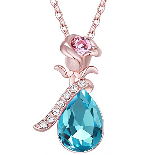 Diwali Gift - OM Jewells 18k Rose Gold Plated Blue Austrian Crystal Flower Pendant Necklace for Girls and Women PD1000817