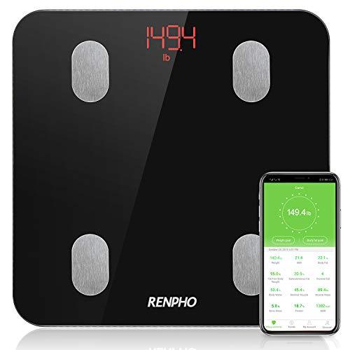 RENPHO Körperfettwaage, Bluetooth Personenwaage mit App, Smart Digitale Waage für Körperfett, BMI, Gewicht, Muskelmasse, Wasser, Protein, Skelettmuskel, Knochengewicht, BMR, Schwarz