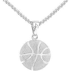 Sungpunet Baloncesto Colgante Collar de la aleación de Hip Hop del Collar de la Cadena del Collar del Baloncesto del Estilo joyería Deportes Hombres