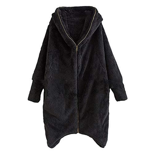MYMYG Damen Mantel Fleecemantel mit Kapuze Strickjacke Winter Plüschjacke Warm Winterjacke Steppjacke Outwear Cardigan Langarm Teddy-Fleece Parka Kapuzenjacke Trench Coat (A1-Schwarz,EU:42/CN-2XL)