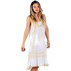Savage Culture Cala Vadella, Vestido para Mujer, (Blanco 007), Large (Tamaño del Fabricante:L)