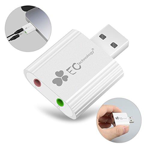 EC Technology Externe USB Soundkarte Aluminium C Media Chipsatz, Kompatibel mit Windows, Mac, Plug & Play-Silber