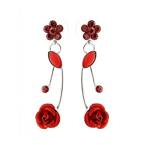Glamorousky Elegant Red Rose Earrings with Red Austrian Element Crystals and Crystal Glass (501)