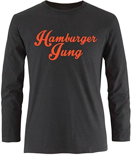 EZYshirt® Hamburger Jung Herren Longsleeve Schwarz/Orange