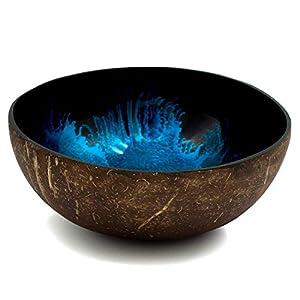 cocovibes Coconut Bowl, Kokosnuss Schale, Deko Schüssel, handgemacht, lackiert Splash blau, 1er