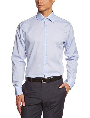 Seidensticker Herren Businesshemd Tailored Langarm mit Kent-Kragen und Umschlagmanschette aber ohne Manschettenknöpfe bügelfrei, Blau (hellblau 15), Gr. 42 CM