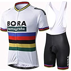 Alpediaa Hombres Maillots de Bicicleta Conjunto de Ropa de Ciclo Jersey de Manga Corta + Pantalones Cortos Acolchados Cómodo Respirable Secado Rápido ESALPESET051-2