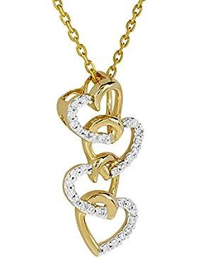 Diamond Line Damen - Halskette 333er Gold 32 Diamanten ca. 0,10 ct., gelbgold