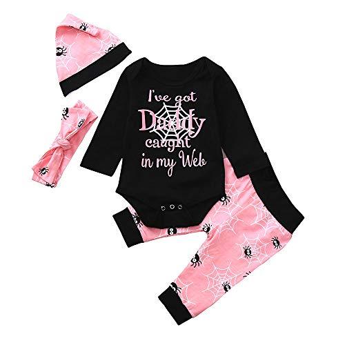 Baby Jungen Mädchen Neugeborenen Langarm Karikatur Strampler Overall Kleidung Hosen Set mit Hut und Stirnband 4 Stück Outfits Halloween Kostüm Karneval Party von ()