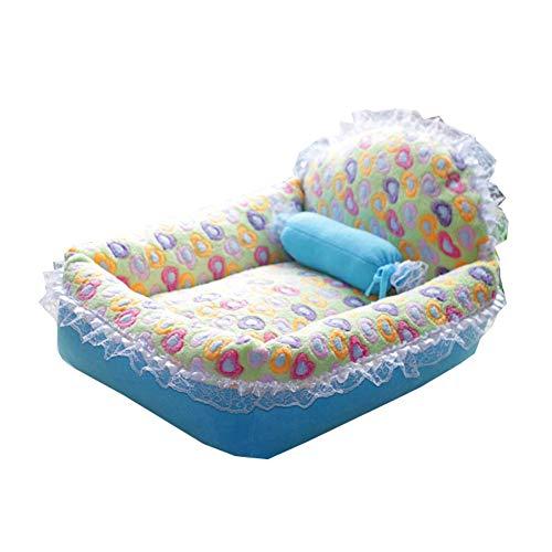 Pet Lounge Dog Bed, Abnehmbare Und Waschbare Abdeckung, 57Cm X 50Cm X 16Cm, Blaue Und Rosa Farbe-Block Betten Für Hunde,Blue -