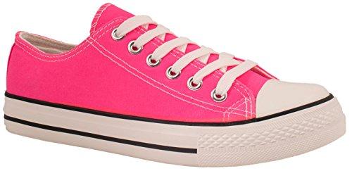 Elara Unisex Sneaker | Bequeme Sportschuhe für Damen und Herren | Low Top Turnschuh Textil Schuhe YD3230-Fluorescheinred-39