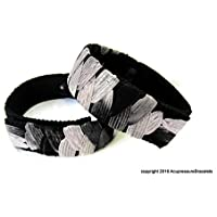 Preisvergleich für Akupressur gegen Übelkeit Armbänder (Paar) Schwarz und Weiß (mittlere/durchschnittliche Erwachsene)