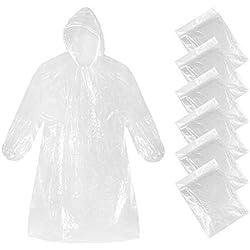 6 x Poncho De Lluvia Onlyhere Desechable Impermeable Portátil Con Capuchas Resistentes Al Agua