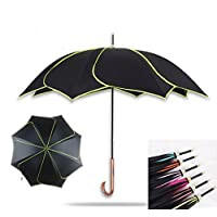 Manfâ Flowers Umbrella Automatic Folding Printed Windproof Beautiful Fashion Petal-shaped Princess Umbrella Super Sun Umbrella Personality Design Straight Black Umbrella Yellow