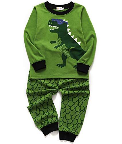 Little Sorrel Jungen Schlafanzug Mond Stern Baumwolle Overall Marineblau Langarm Kurzarm Nachtwäsche für Kinder Größe 92-110 (110, Dinosaurier)