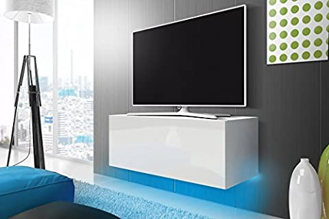 Meuble TV Lana (blanc mat/blanc brillant) Blue LED, 100 cm