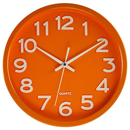 JVD HX2413.6 Wanduhr Quarz analog orange leise ohne Ticken rund