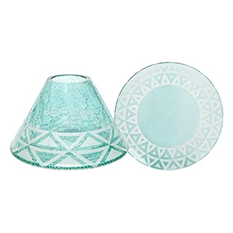 Yankee Candle Cote d'Azur Crackle Large Lamp Shade and Tray Holder Set for Medium/Large Jar Candles Modern Coloured Solid Glass Accessories Candle Lampshade Topper/Cover plus Plate/Dish