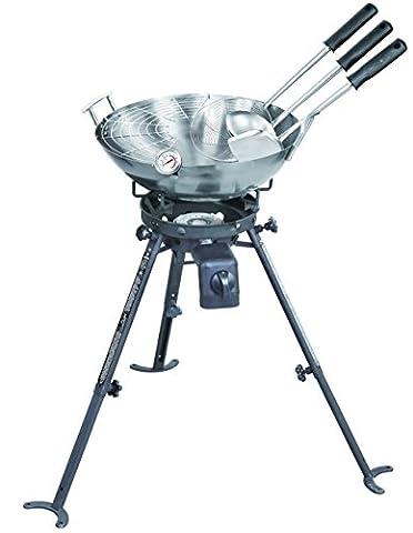 Complete Wok Set & High Power Burner - Outdoor Wok Set with Carbon Steel Wok (45cm)