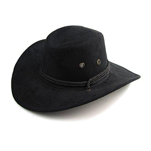 iter Rand Cowboyhüte Klassischer Kavallerie Hut Australien Hut Wetter Hut Herren Leder Hüte für Outdoor (Schwarz) (Schwarze Leder Cowboy Hut)