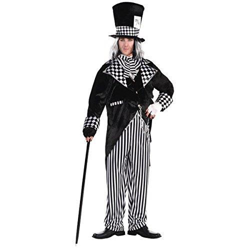 Erwachsene völlig Mad Hatter neue Fancy Dress Kostüme Herren böse Alice Halloween (Plus (Hatter Mad Kostüm Plus)