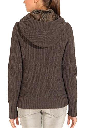 Brinny Femme Hiver Tricoté Gilet Bouton Pulls Vêtements Cardigan Tunique Sweats à capuche Tricots Manteaux fausse Fourrure Fleece Gris foncé