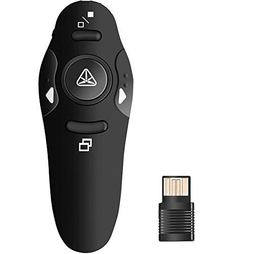 Wireless Presenter PowerPoint Präsentation Clicker PPT 2,4GHz USB-Fernbedienung Laser Pointer Büro Rede Schule Baugruppen bis zu 10m Regelbereich-Schwarz - Pc-präsentation-software