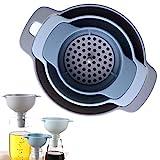 Imbuto da cucina - Imbuto nidificato con manico - Confezione da 3 imbuti in plastica per uso alimentare con filtro staccabile per il trasferimento di liquidi, liquidi, ingredienti secchi e polvere