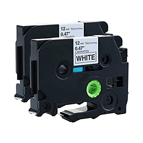 Toprinting 2 x TZe-231 TZ231 Label Tape Cassette 12mm x 8m Black on White Compatible for Brother P-Touch PT-1000 GL-H100 GL-H105 GL-200 PT-1080 PTE-550WVP PT-P700 PT-H300 Label Printing Machines