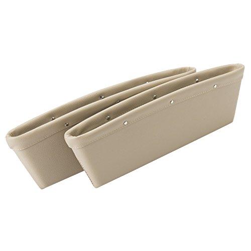 Tasca Laterale Seggiolino da Auto Scatola Portaoggetti Organizer Portaoggetti Tasche a Fessura Caddy-Contenitore Portaoggetti PU Pelle Confezione da 2 Beige