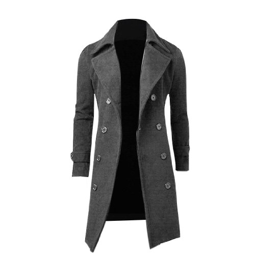 Männer Convertible langärmig, Zweireiher-Mantel Grau - Grau