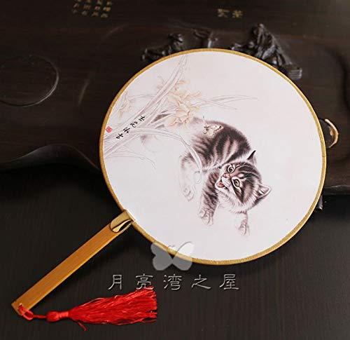 tücke Exquisiter Klassischer Palast-Fan, Nachgemachte Alte Kostüm, Tanz-Fan, Chinesischer Wind, Hanfu, Runder Fan, Fotografie, Requisiten Und Multicolor., Pussy-Blumen ()