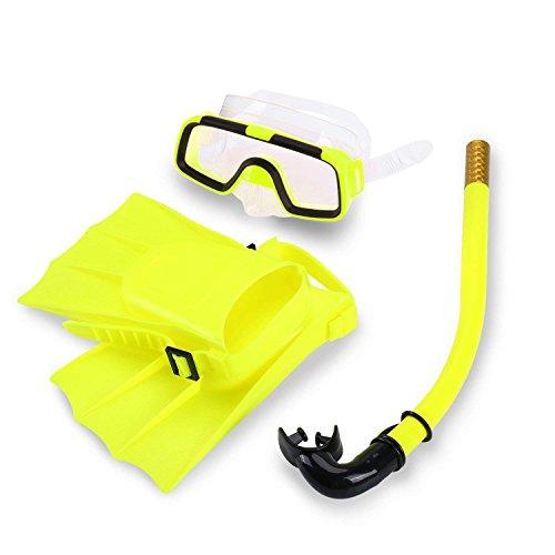 Yosoo Niños Natación Buceo Silicona Aletas + Snorkel Scuba Gafas + Máscara Snorkel Silicona Set para 8-12,5 Tamaño de US(Yellow)