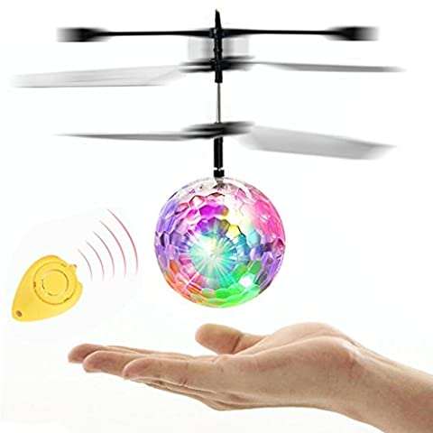 2017 Newest DIKEWANG Stress Reliver Mini Flying RC Electric Ball Colorful LED Flashing Light Crystal Hand Suspension Aircraft Helicopter Built-in Disco Music Infrared Sensing Induction Toy Infrared Sensing for Children Adult