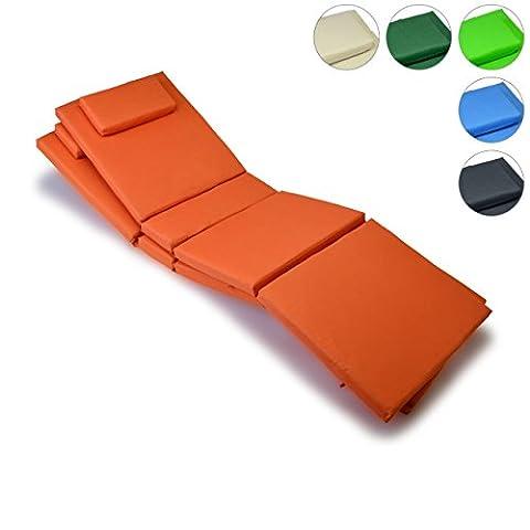 Liegen-Auflage 2er Set Polster Kopfkissen für Sauna Garten Terrasse hochwertig orange