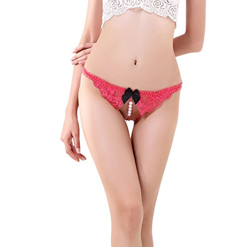 #Memphis Reans ™ Perlen String Damen Unterwäsche mit Spitze Unterhose Tanga G-Schnur Damenwäsche Dessous (004 Rosa)#