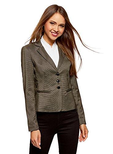 oodji Ultra Damen Taillierter Blazer Basic, Braun, DE 40 / EU 42 / L