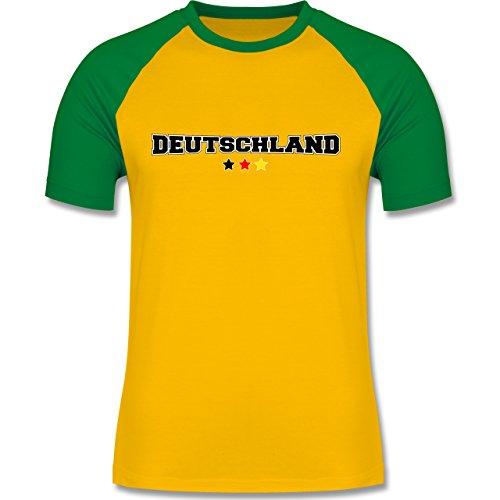 EM 2016 - Frankreich - Deutschland College Schriftzug - zweifarbiges Baseballshirt für Männer Gelb/Grün