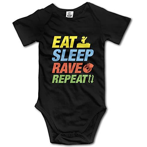 Abigails Home Eat-Sleep-Rave-Repeat Neugeborene Mädchen Babyspielanzug Kurzarm Säuglingskleinkindoverall(0-3M,Schwarz) -