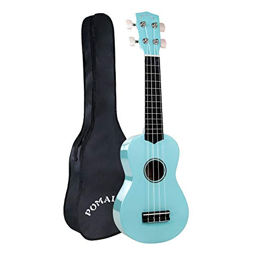 POMAIKAI Sopran Ukulele Starter Uke 21 Zoll Hawaii Gitarre mit Tasche für Kinder und Anfänger (Hellblau)