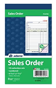 Adams Sales Order Book, 3-Part, Carbonless, White/Canary/Pink, 4-3/16  7-3/16 Inches, 50 Sets per Book (TC4705)