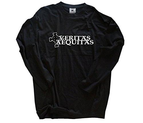 Cross Long Sleeve Shirt Schwarz (Veritas Aequitas III celtic cross design Longsleeve T-Shirt Schwarz XXL)
