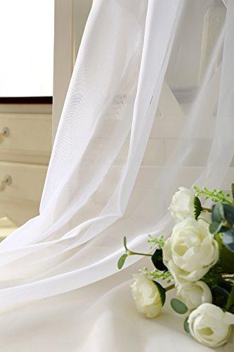 WOLTU VH5515ws Gardine Vorhang transparent mit 50mm KRÄUSELBAND Stores Schal Fensterschal Dekoschal Voile 140×225 cm Weiß - 4